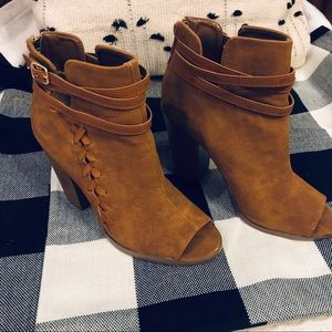 Leila Stone Camel Peep Toe Ankle Boots